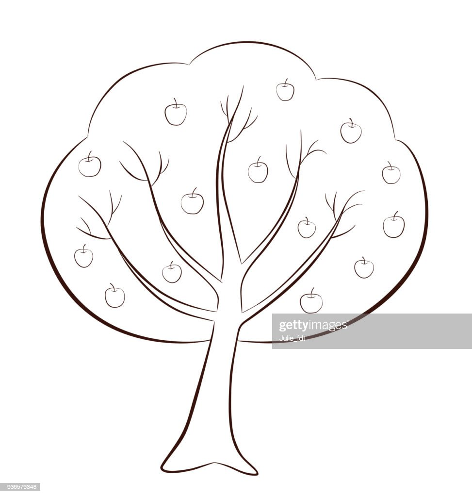 Apple-tree with apples in outline style on white background