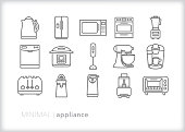 Appliance line icons for the home kitchen or restaurant, used to prep and cook food and drinks