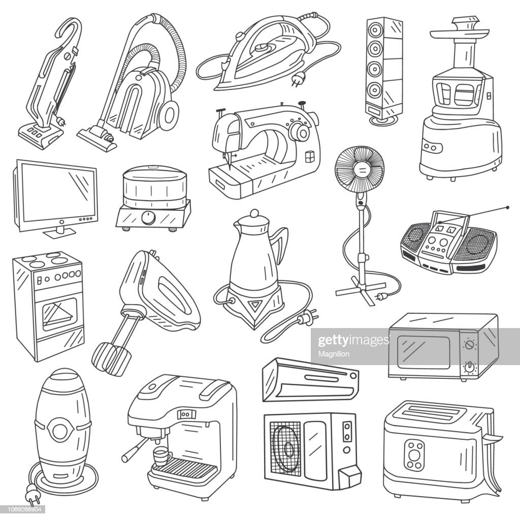 Appliances Doodles set : stock illustration