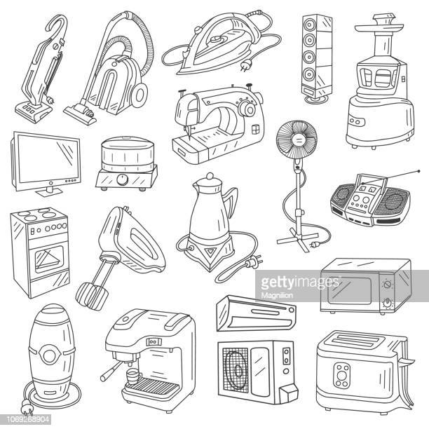 appliances doodles set - iron appliance stock illustrations, clip art, cartoons, & icons