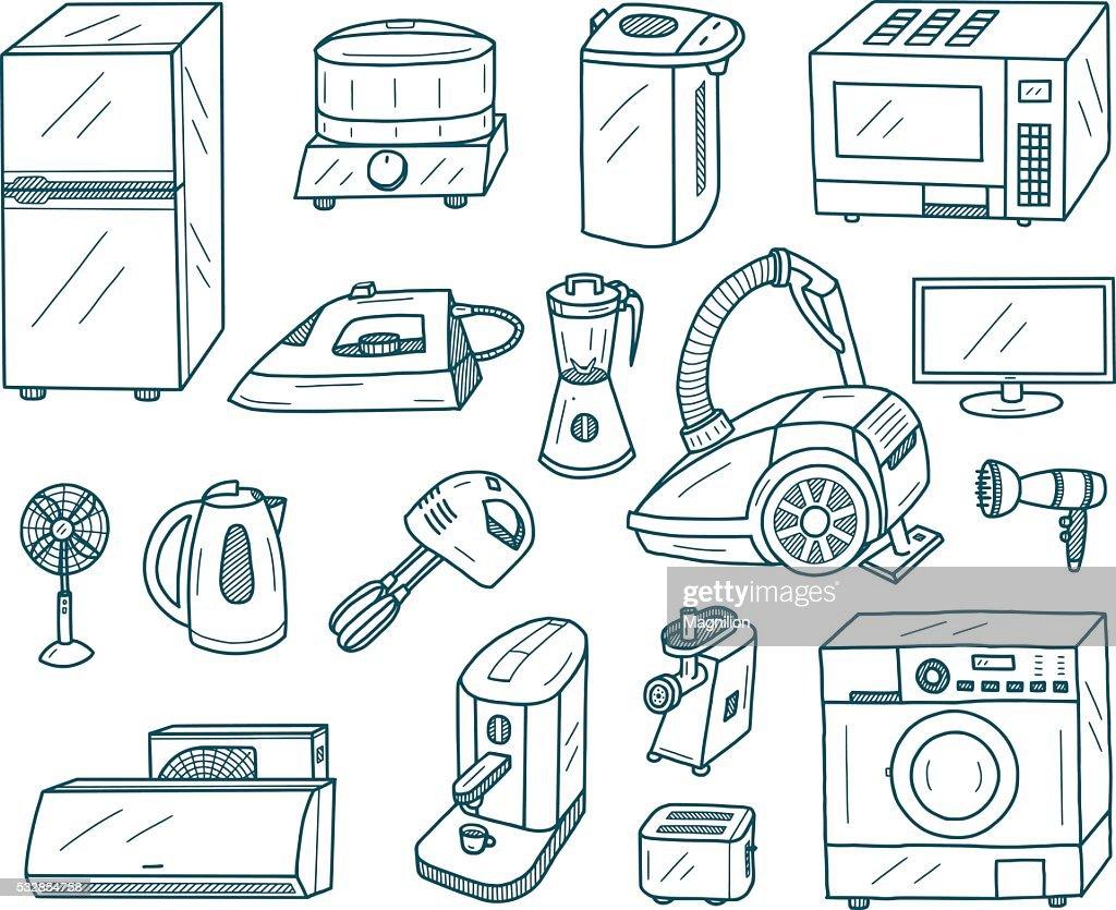 Appliances Doodles : stock illustration