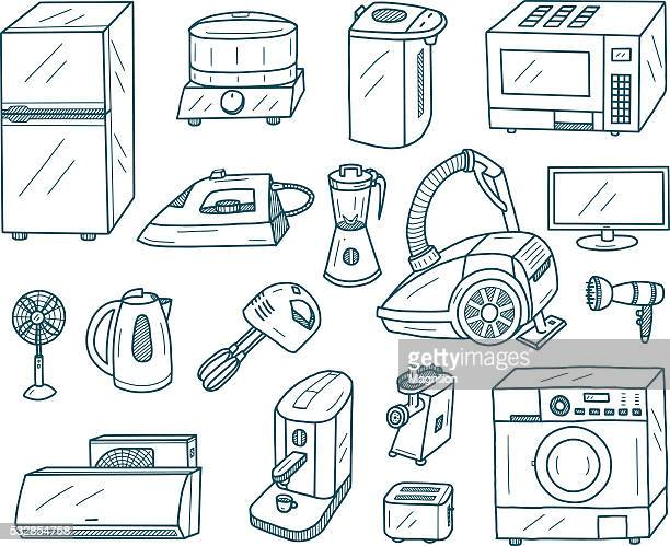 appliances doodles - iron appliance stock illustrations, clip art, cartoons, & icons