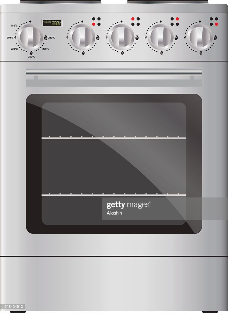 Appliances. Modern electric stove and oven, silver. Isolated.