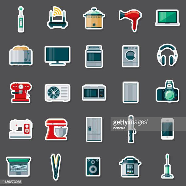 appliances sticker set - electric toothbrush stock illustrations