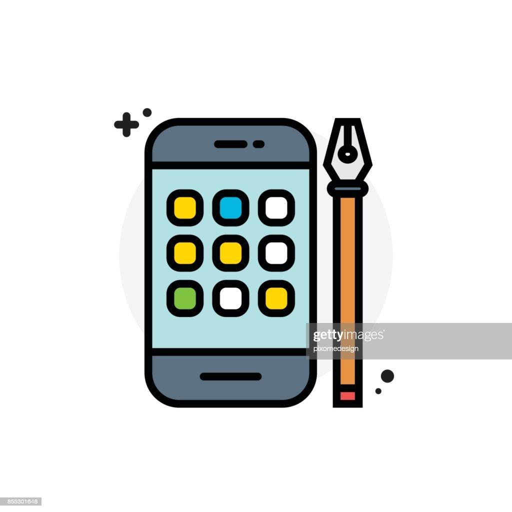 Application development concept Isolated Line Vector Illustration editable Icon