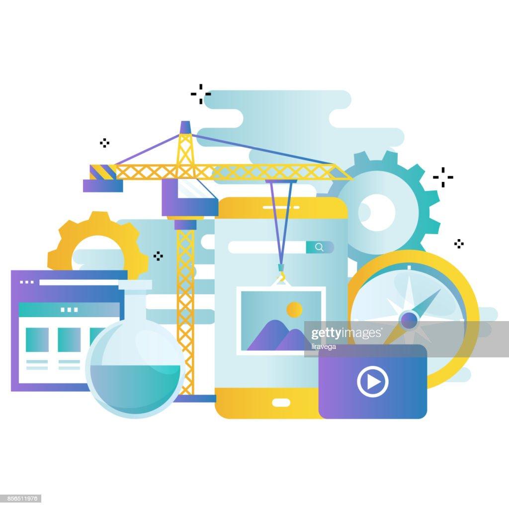 Application development gradient color business vector illustration