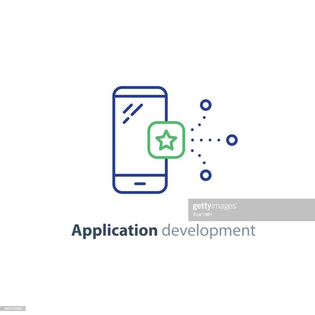 Application icon, mobile app development service, smartphone technology
