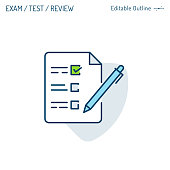 Application icon, Survey form, Exam icon, Online test, Quiz, Objective question, Checklist, Customers reviews, Corporate Business office files, Editable stroke