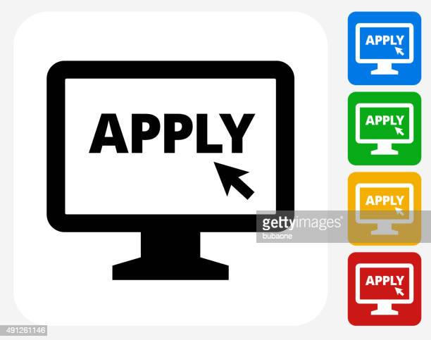 Application on Computer Icon Flat Graphic Design