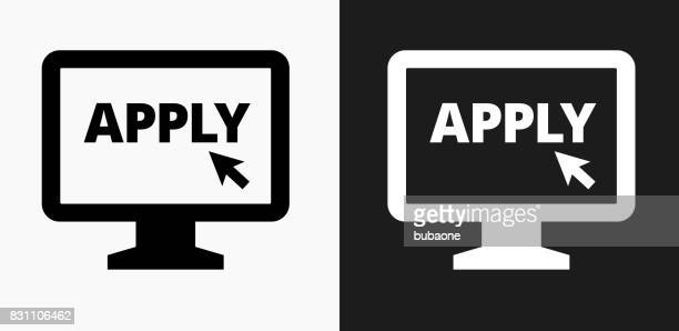 Application on Computer Icon on Black and White Vector Backgrounds