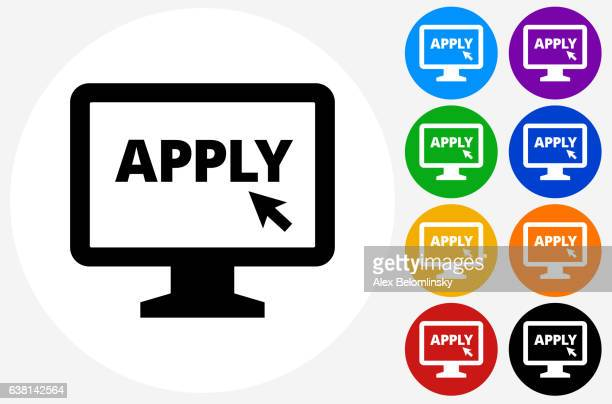 Application on Computer Icon on Flat Color Circle Buttons
