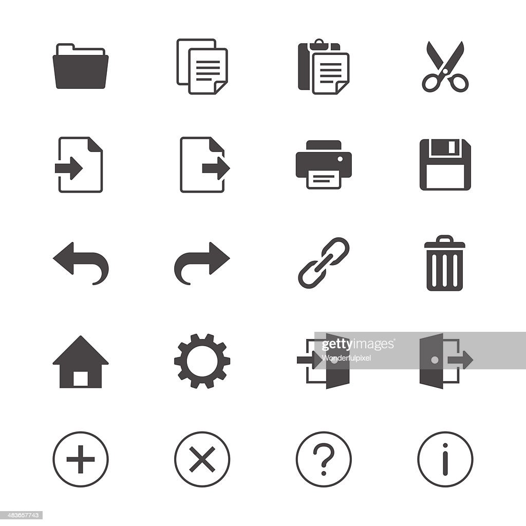 Application toolbar flat icons