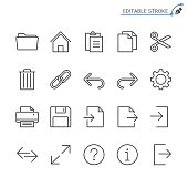 Application toolbar line icons. Editable stroke. Pixel perfect.