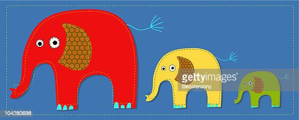 ilustraciones, imágenes clip art, dibujos animados e iconos de stock de applique'elefantes - aplique arte de la costura