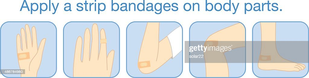 Apply a strip bandages on body parts