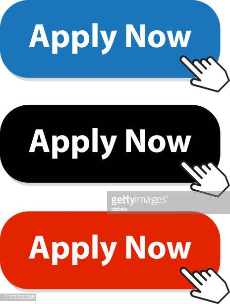 apply now button collection with hand pointer - urgency stock illustrations