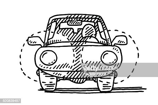 Approaching Car Front Headlights Drawing Vector Art