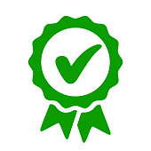 Approval check icon, quality sign – vector