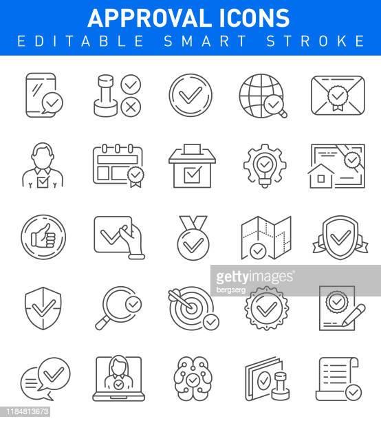 承認アイコン。編集可能なベクトルストロークコレクション - 品質点のイラスト素材/クリップアート素材/マンガ素材/アイコン素材