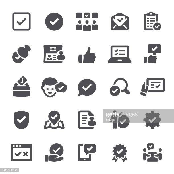approval icons - permission concept stock illustrations