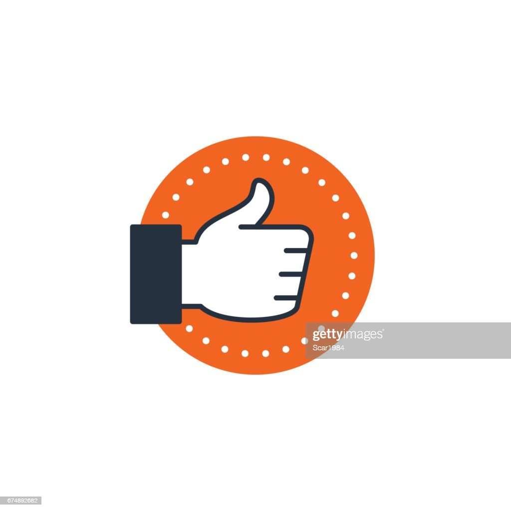 Approval sign, customer service experience, like hand thumb up icon satisfaction