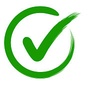 approval symbol check mark in a circle, drawn by hand, vector green sign OK approval or development checklist. personal choice mark