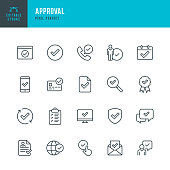 Approval - thin line vector icon set. Pixel perfect. Editable stroke. The set contains icons Approval sign, Agreement update, Protected, Check Mark.