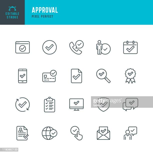 approval - thin line vector icon set. pixel perfect. editable stroke. the set contains icons approval sign, agreement update, protected, check mark. - trust stock illustrations
