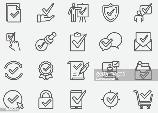 approve and check mark line icons - accuracy stock illustrations