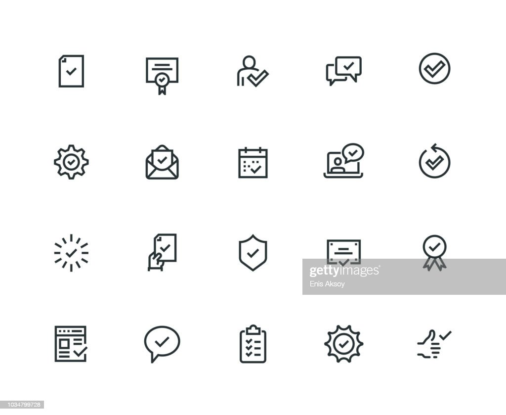 Approve Icon Set - Thick Line Series : Stock Illustration