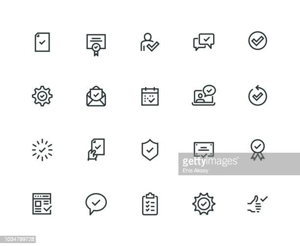 approve icon set - thick line series - receiving stock illustrations