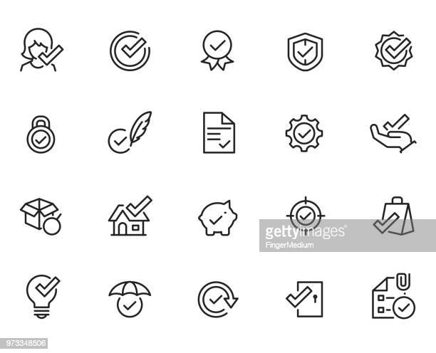approve icon set - receiving stock illustrations