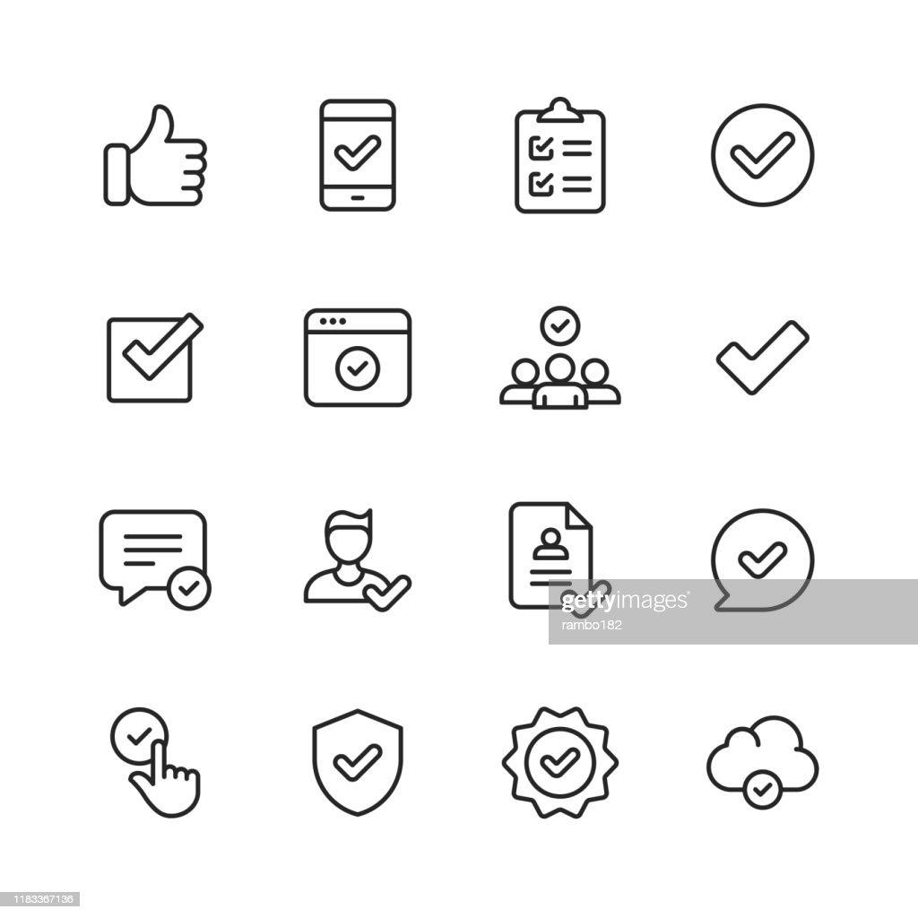 Pictogrammen goedkeuren. Bewerkbare lijn. Pixel perfect. Voor mobiel en Internet. Bevat dergelijke pictogrammen zoals goedkeuring, overeenkomst, kwaliteitscontrole, certificaat, vinkje, prestatie, garantie. : Stockillustraties