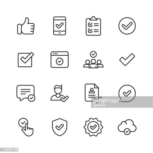 illustrazioni stock, clip art, cartoni animati e icone di tendenza di approve icons. editable stroke. pixel perfect. for mobile and web. contains such icons as approve, agreement, quality control, certificate, check mark, achievement, guarantee. - affidabilità