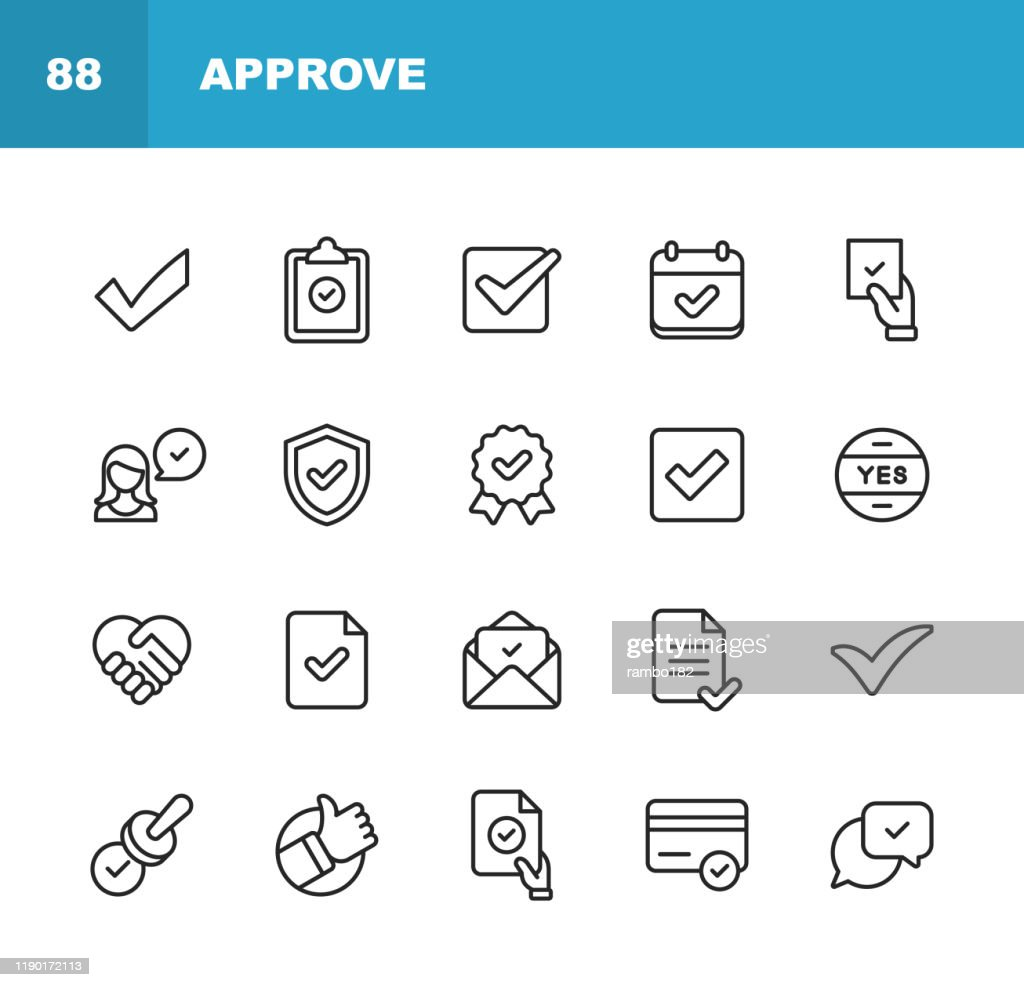 Approve Icons. Editable Stroke. Pixel Perfect. For Mobile and Web. Contains such icons as Approve, Agreement, Quality Control, Certificate, Check Mark, Achievement, Guarantee. : stock illustration
