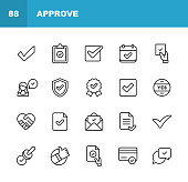 Approve Icons. Editable Stroke. Pixel Perfect. For Mobile and Web. Contains such icons as Approve, Agreement, Quality Control, Certificate, Check Mark, Achievement, Guarantee.