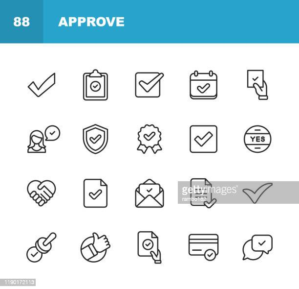 approve icons. editable stroke. pixel perfect. for mobile and web. contains such icons as approve, agreement, quality control, certificate, check mark, achievement, guarantee. - agreement stock illustrations
