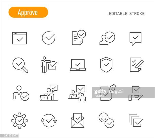 ilustrações, clipart, desenhos animados e ícones de aprovar ícones - série de linhas - traçado editável - endossar