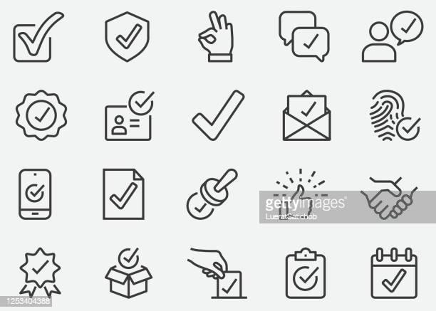 liniensymbole genehmigen - vertrag stock-grafiken, -clipart, -cartoons und -symbole