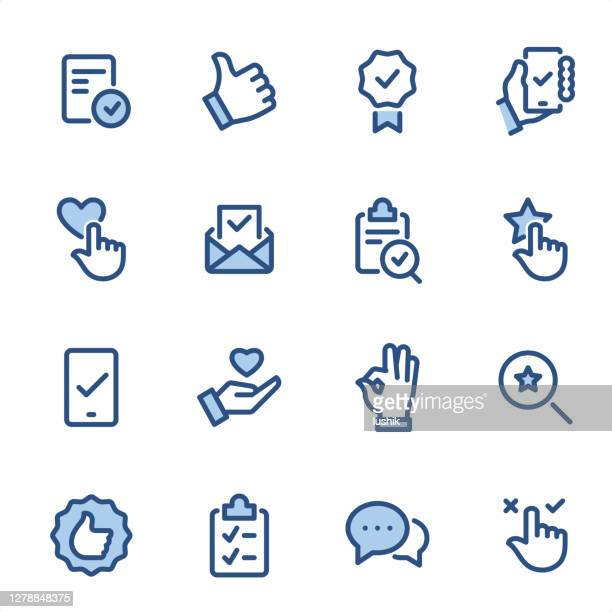 stockillustraties, clipart, cartoons en iconen met mark goedkeuren - pixel perfect blauwe lijnpictogrammen - feedback
