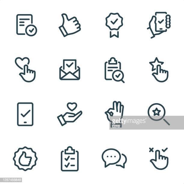 stockillustraties, clipart, cartoons en iconen met mark goedkeuren - pixel perfecte unicolor-lijnpictogrammen - feedback