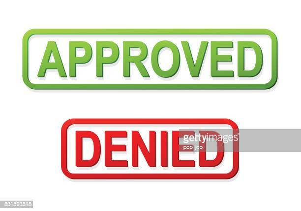 Approved and Denied Stamp - Vector Illustration