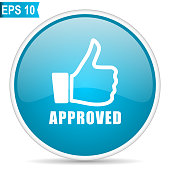 Approved blue glossy round vector icon in eps 10. Editable modern design internet button on white background.