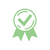 Approved certified icon. Certified seal icon. Rosette or Award vector icon, quality accepted check for customer choice