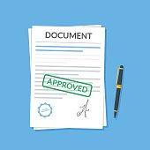 Approved document with stamp and pen. Modern flat design graphic elements. Approved application concepts. Vector illustration in flat style isolated on color background. Top view.