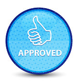 Approved (thumbs up icon) galaxy cyan blue round button
