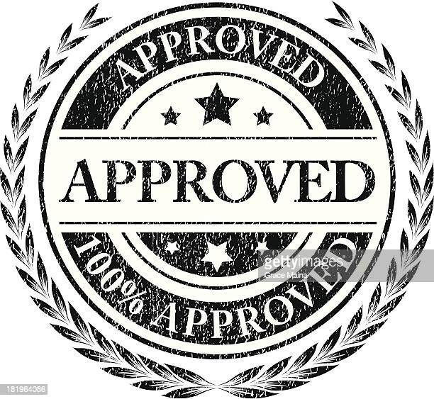 approved grungy sign -vector - medallion stock illustrations, clip art, cartoons, & icons
