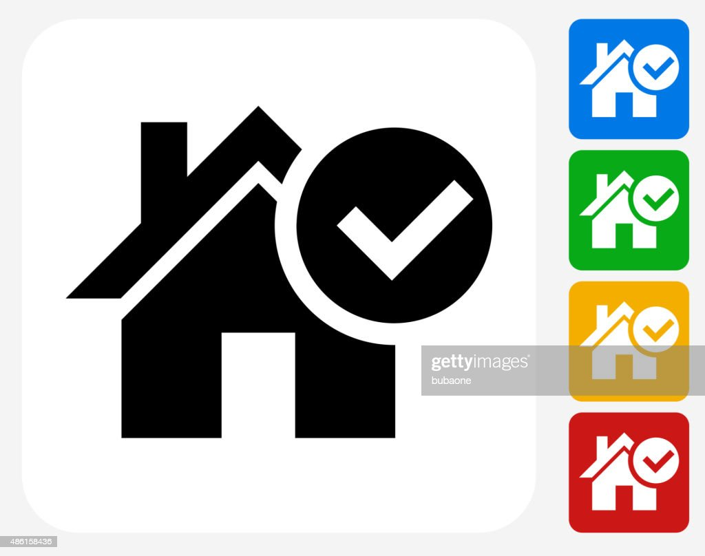 Approved House Icon Flat Graphic Design