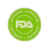 FDA Approved (Food and Drug Administration) icon, symbol, label, badge, logo, seal.