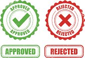 Approved Rejected stamps